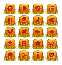 Set of orange buttons with web icons vector image