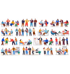set office employees business partners vector image
