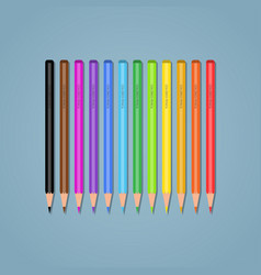 set pencils on a blue background vector image