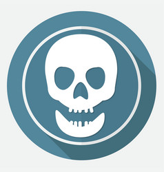 Skull icon on white circle with a long shadow vector