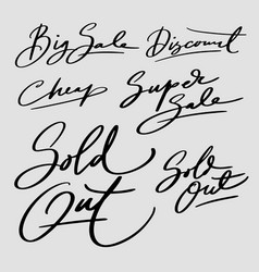 Sold out and big sale hand written typography vector