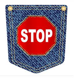 Stop denim pocket vector