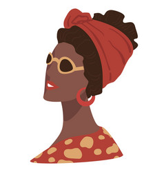 Stylish afro american lady fashion and trendy vector