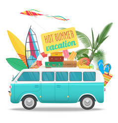 Summer travel with vintage bus vector