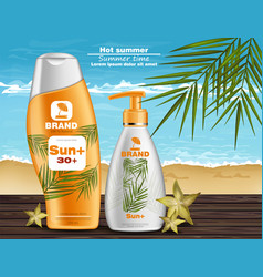 Sun screen and lotion uv protection vector