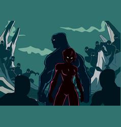 Superhero couple minions silhouette vector