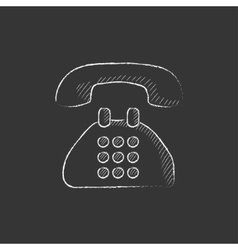 Telephone Drawn in chalk icon vector
