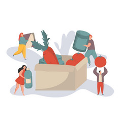 Tiny people filling cardboard donation box with vector