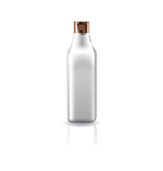 Transparent cosmetic square bottle with cap lid vector