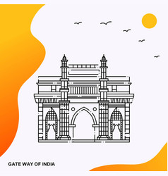 Travel gate way of india poster template vector