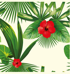 Tropical leaves seamless hibiscus white background vector