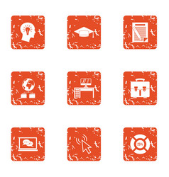 Working fluid icons set grunge style vector