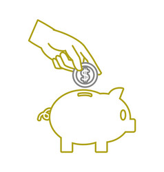 yellow line piggy to save money and hand with coin vector image