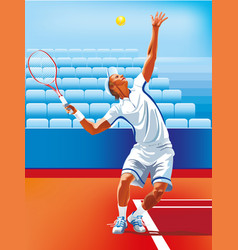 young man play tennis outdoor on orange tennis vector image