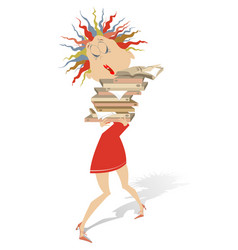 young woman hardly holds a lot of books or documen vector image