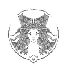 Zodiac sign portrait of a woman taurus vector