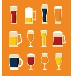 Big set of beer glasses and bottles vector image