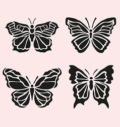 butterfly symbols set vector image