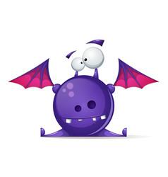 cartoon happy cute funny monster vector image