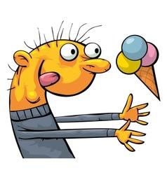 Fruit ice cream eater vector image