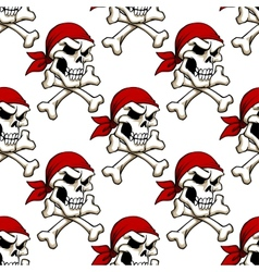 Pirate skull with crossbones seamless pattern vector image