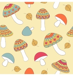seamless pattern with abstract mushrooms vector image vector image