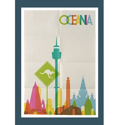 Travel Oceania landmarks skyline vintage poster vector image vector image