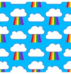 Blue sky with rainbows and clouds seamless pattern vector image