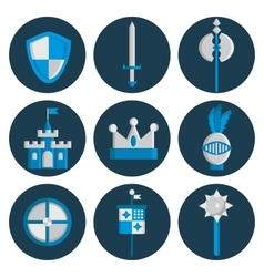Knights flat icons set vector image