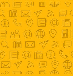 line style icons seamless pattern icons contact vector image vector image