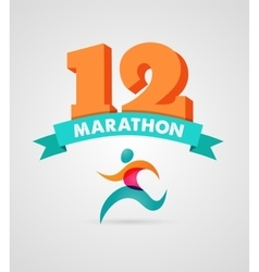 Running marathon people run colorful poster vector image