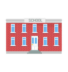 school two-storey building windows and entrance vector image