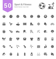 Sport and Fitness Solid Icon Set vector image