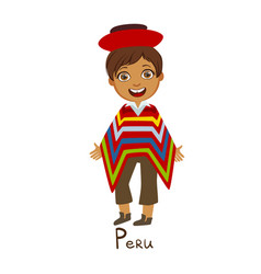 boy in peru country national clothes wearing vector image