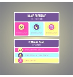 Business card template made in bright funky vector image