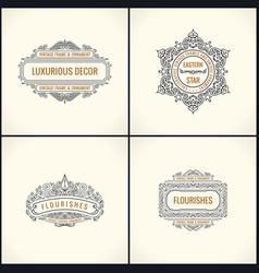 calligraphic design elements vintage vector image