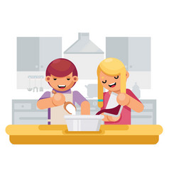 cute children girl boy cook cooking kitchen vector image