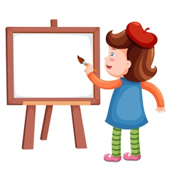 Girl painting blank whiteboard vector image vector image