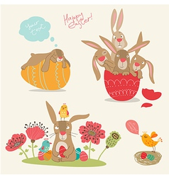 Hand-drawing pictures of Easter vector image