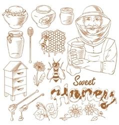 Honey monochrome icon set vector image vector image