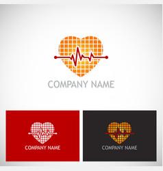 heart beat pulse love logo vector image