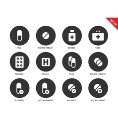 Pills icons on white background vector image vector image
