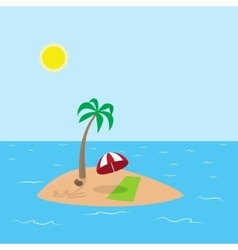 tropical island with coconut palm vector image vector image