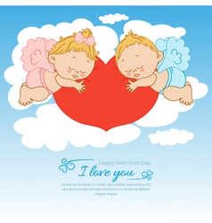 Valentines Day card with two angels background vector image