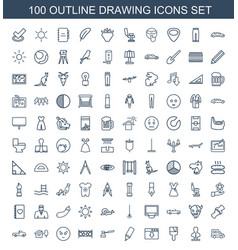 100 drawing icons vector