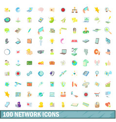 100 network icons set cartoon style vector