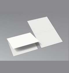 3d two halffold blank white brochure template vector image