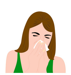 a girl having a cold and sneezing vector image