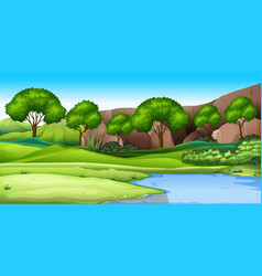 a nature green landscape vector image