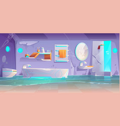 Abandoned futuristic bathroom flooded interior vector